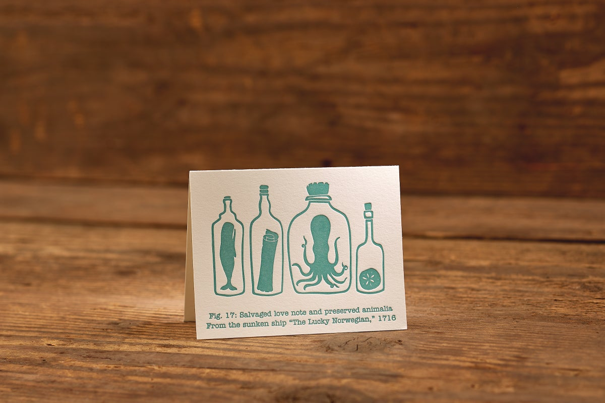 "Image of Note in a Bottle Letterpress Card (A2: 5.5 x 4.25"")"