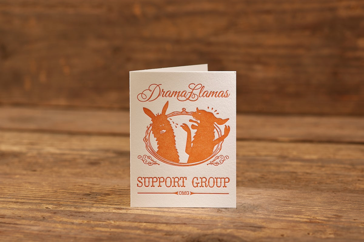 "Image of Drama Llamas Support Group Letterpress Card (A2: 4.25 x 5.5"")"