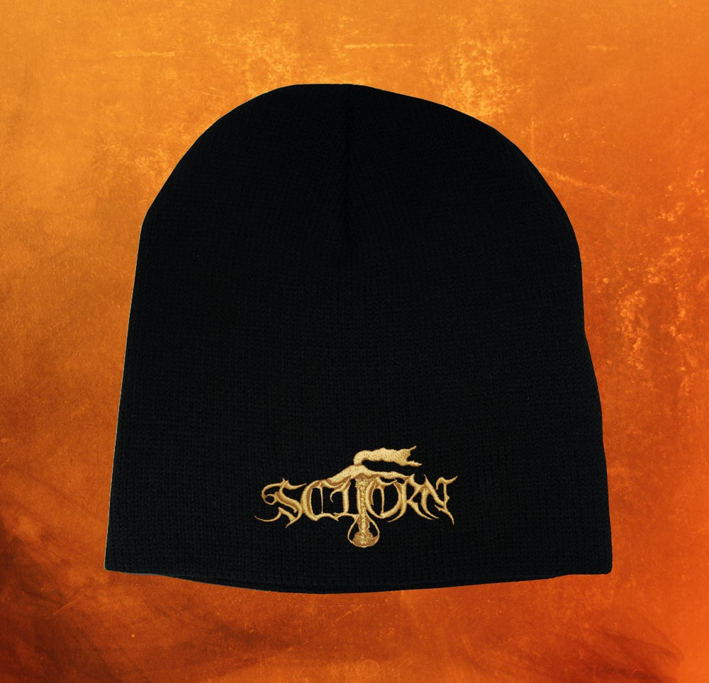 Image of BEANIE WITH EMBROIDERED GOLDEN LOGO