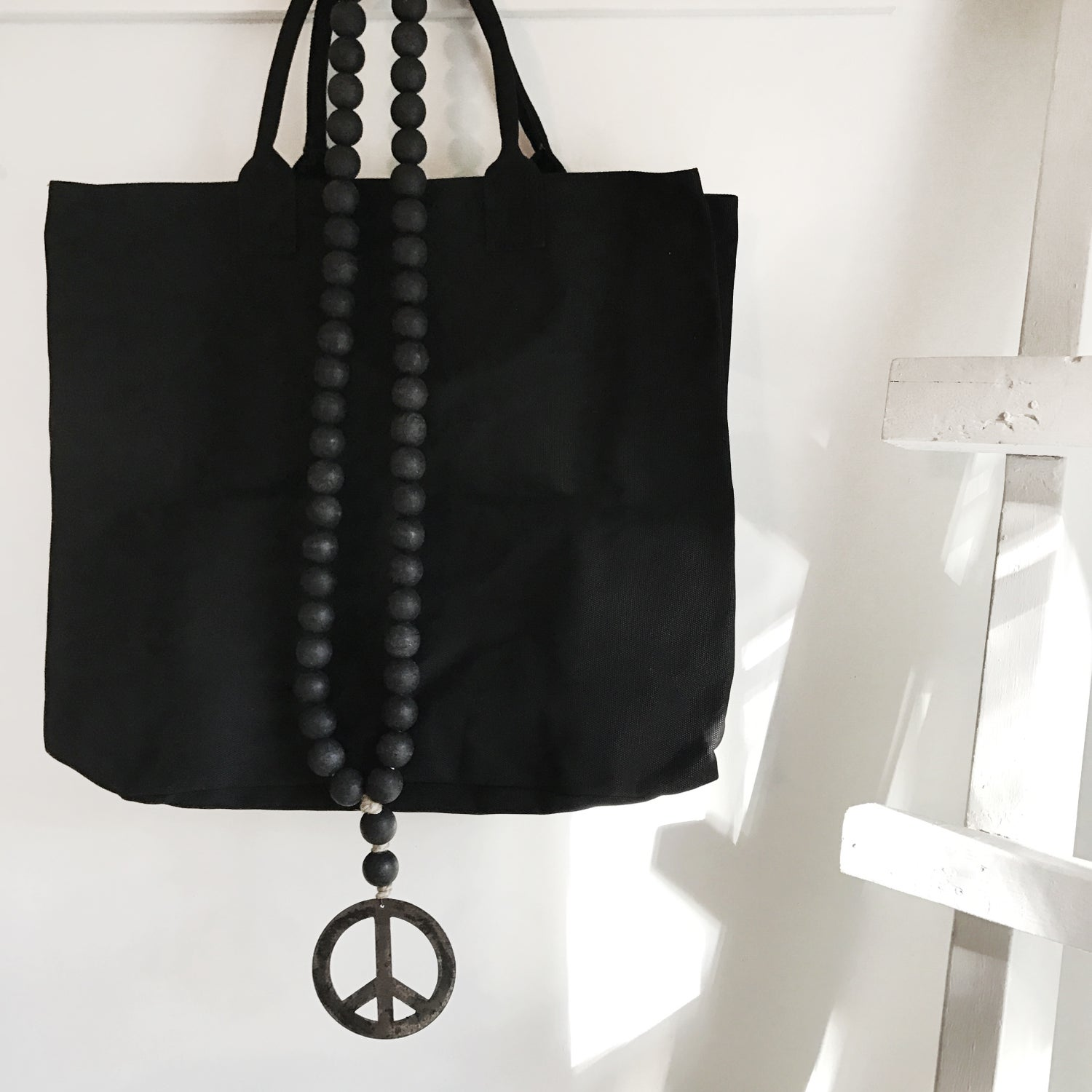 Image of ORIGINAL LOVE BEADS - modern black peace sign