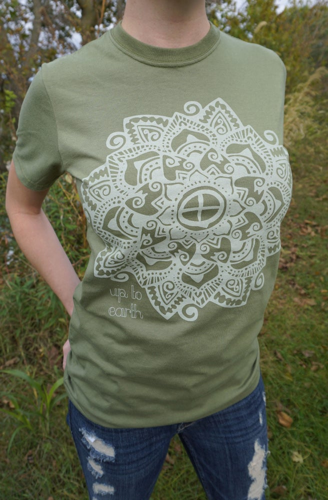 Image of Up To Earth Organic Flower Tee [Olive Green]