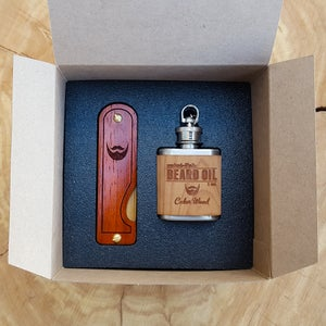 Image of Beard Comb & Beard Oil Kit - Personalized Folding Wood Beard Gift Set - Gifts for Men