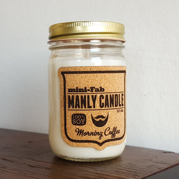 Image of Manly Candle - Morning Coffee Scented Natural Soy Man Candle Hand Poured with Cotton Wick