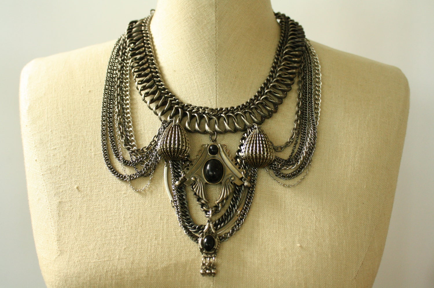 Image of Black Onyx Silver Statement Necklace