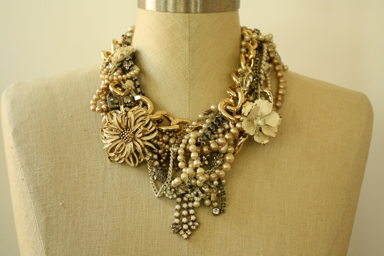 """Image of """"Till Death Do Us Part"""" Distressed Pearl Statement Necklace"""
