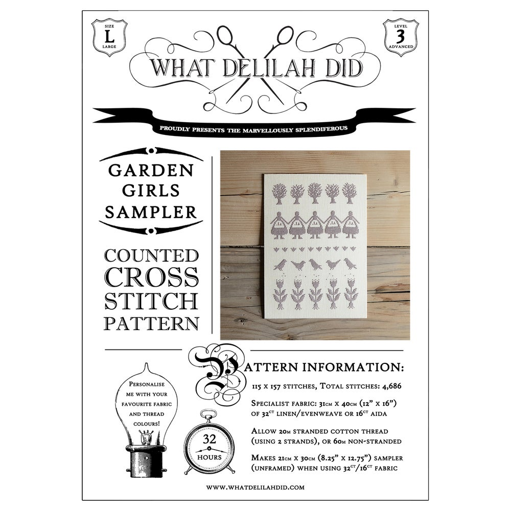Image of Garden Girls Sampler PDF Pattern
