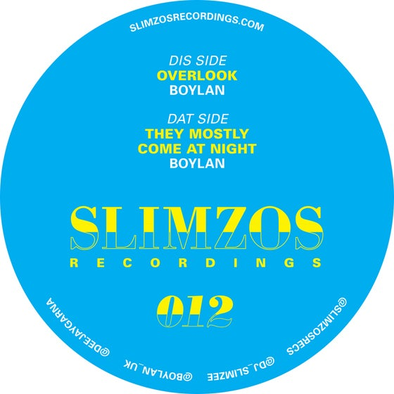 Image of Slimzos 012 Vinyl- Boylan Overlook/TheyMostlyComeAtNight
