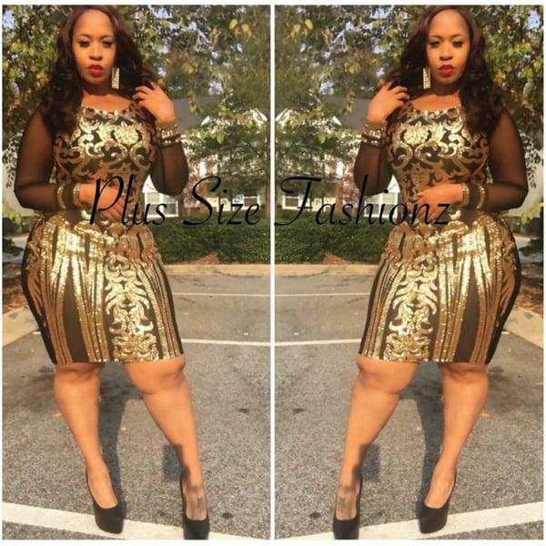 Golden Sequins Dress - Plus Size Fashionz