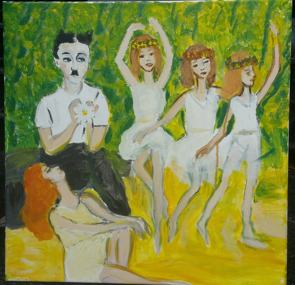 """Image of """"Charlie Chaplin Dancing with Fairies. She Loves Me/She Loves Me Not?"""""""