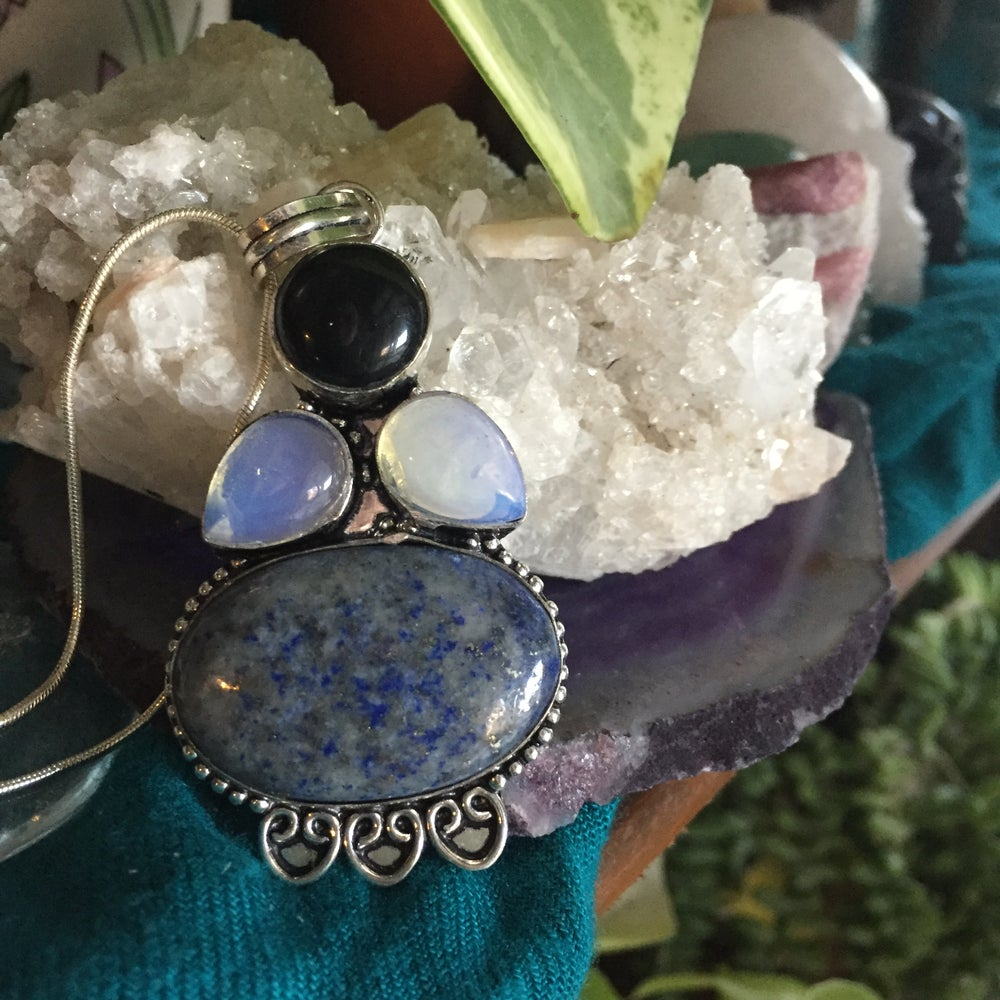 Image of Obsidian, Opalite & Lapis Lazuli Sterling Silver Necklace