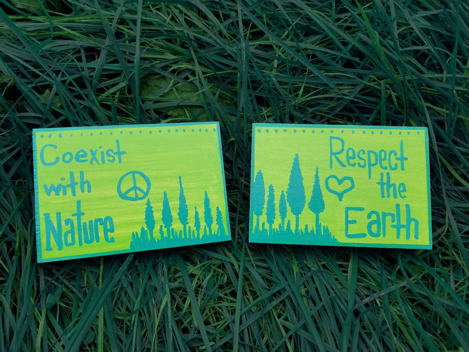 Image of Coexist with Nature / Respect the Earth - Set of 2 Small Paintings