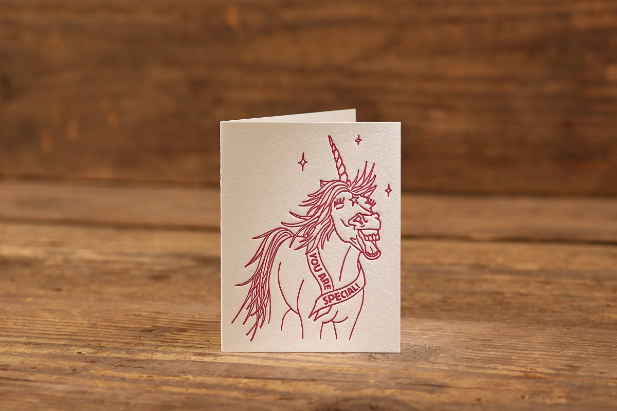 "Image of Special Unicorn Letterpress Card (A2: 5.5 x 4.25"")"