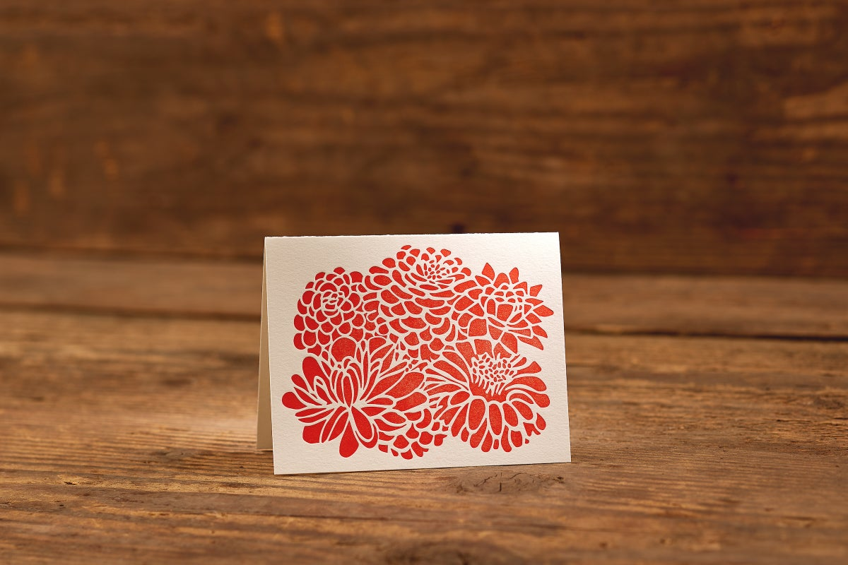 "Image of Chrysanthemum Letterpress Card (A2: 5.5 x 4.25"")"