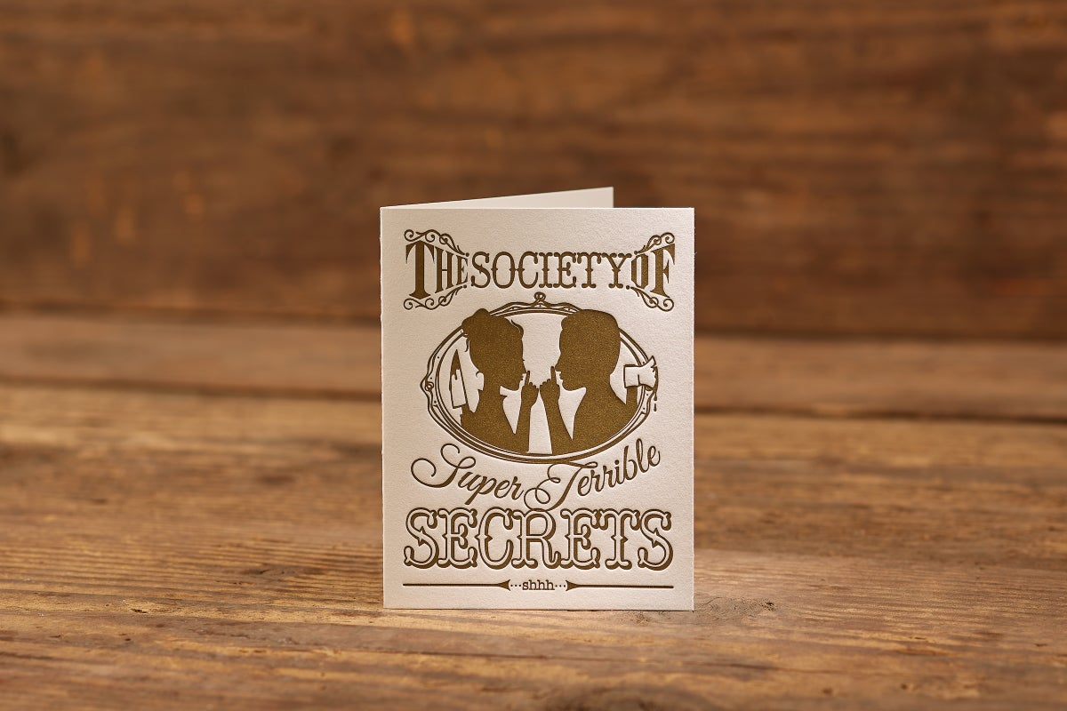 "Image of Super Terrible Secrets Letterpress Card (A2: 5.5 x 4.25"")"