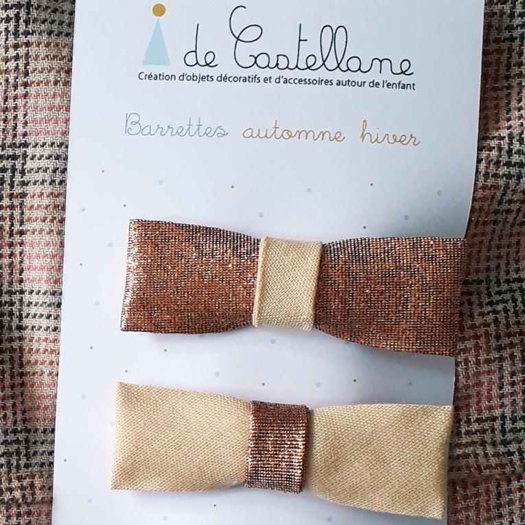 Image of Duo barrettes bicolores : lamé cuivré/beige