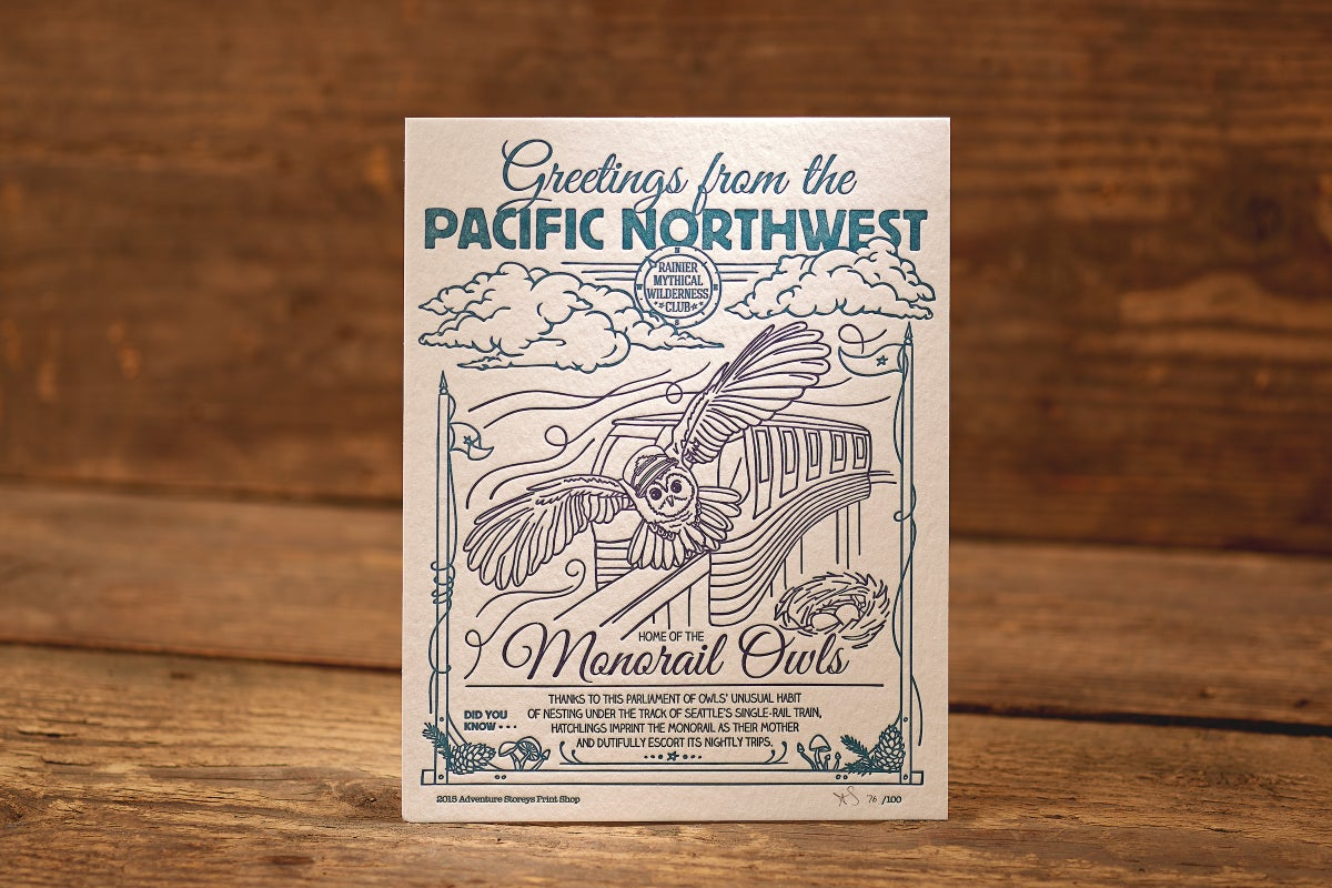 """Image of Monorail Owls - Limited Edition Letterpress Print (8.5 x 11"""")"""