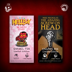 Image of Hellboy/B.P.R.D.: itty bitty Hellboy and The Amazing Screw-On Head pin set!