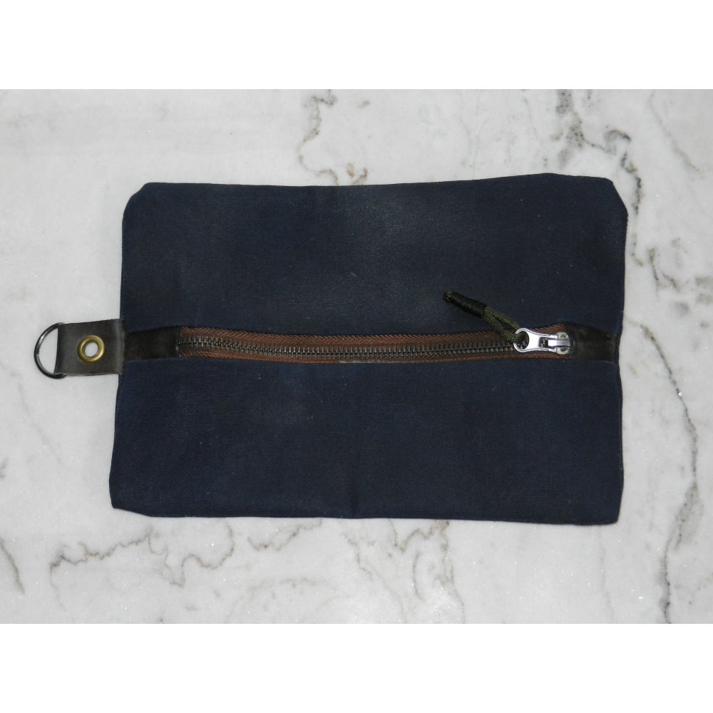 Image of Blue Waxed Canvas & Leather Tool Bag