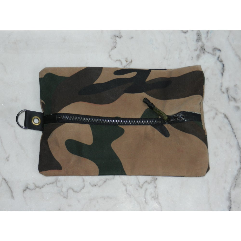 Image of Camo Waxed Canvas & Leather Tool Bag
