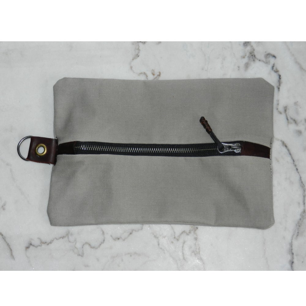 Image of Grey Waxed Canvas & Leather Tool Bag