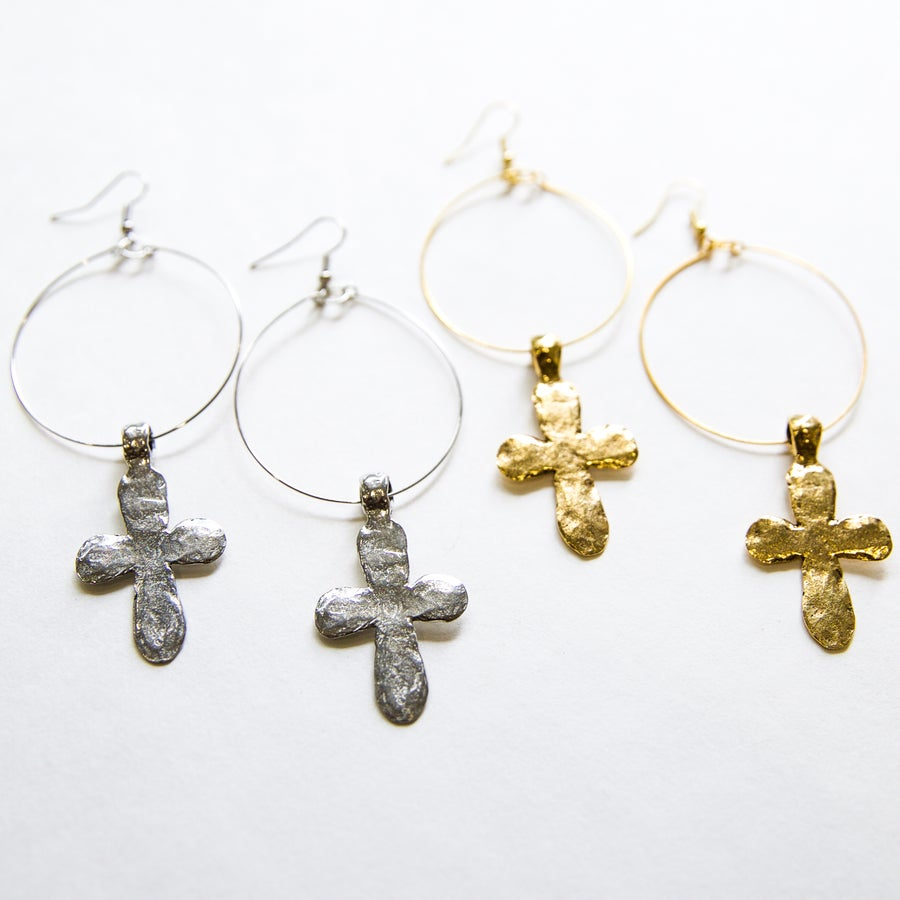 Image of The Hammered Cross Hoops