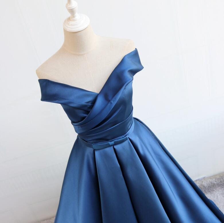 Navy Blue Prom Dresses 2018, Satin Party Dresses, Formal Gowns