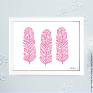 Image of *3 pink feathers*_18x24 cm