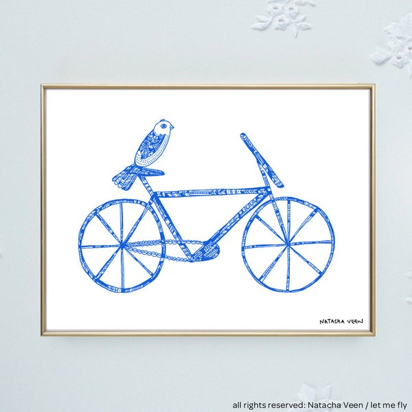 Image of Blue *bike & bird*_18x24 cm