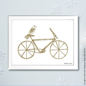 Image of Gold *Bike & Bird*18x24 cm