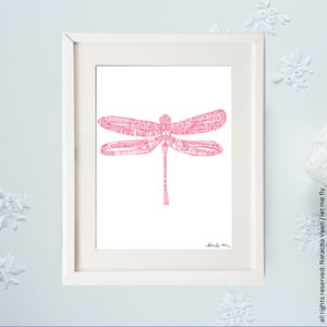 Image of Pink *Dragonfly*_A4
