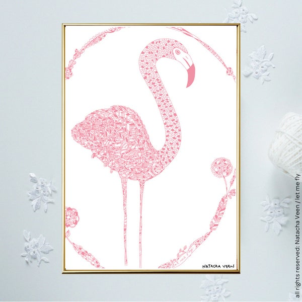 Image of Pink *Flamingo*_18x24 cm