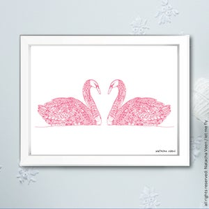 Image of Pink *Swan*_18x24cm