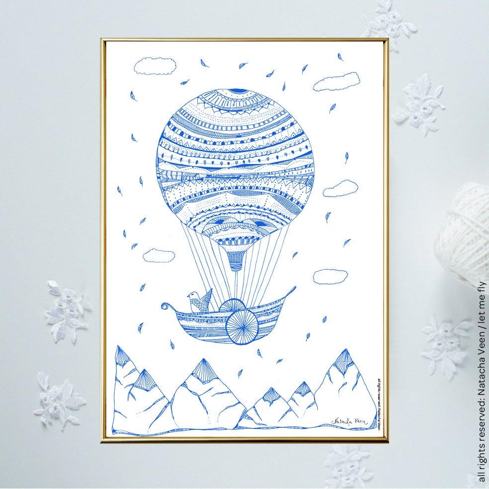 Image of Blue *Hot air ballon*_A4 or A3