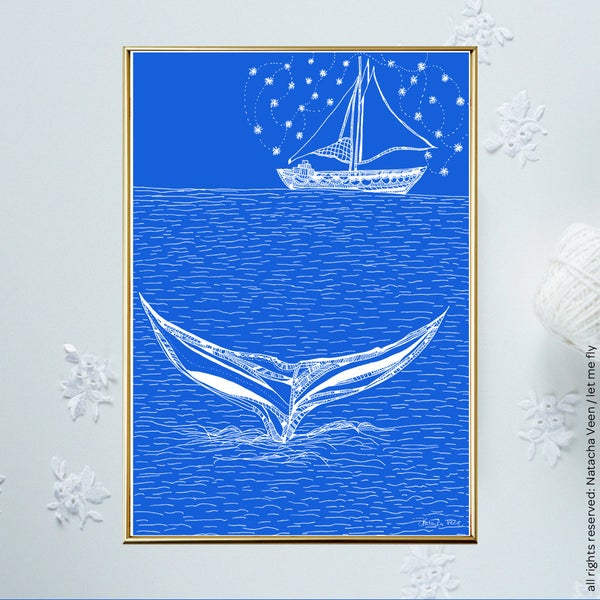 Image of Blue *Boat&Whale*_A4
