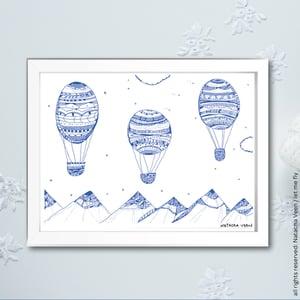 Image of Blue *Hot air ballon*_18x24cm