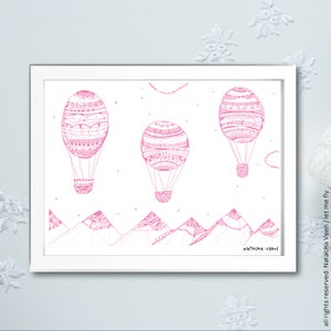 Image of Pink *Hot air ballon*_18x24cm