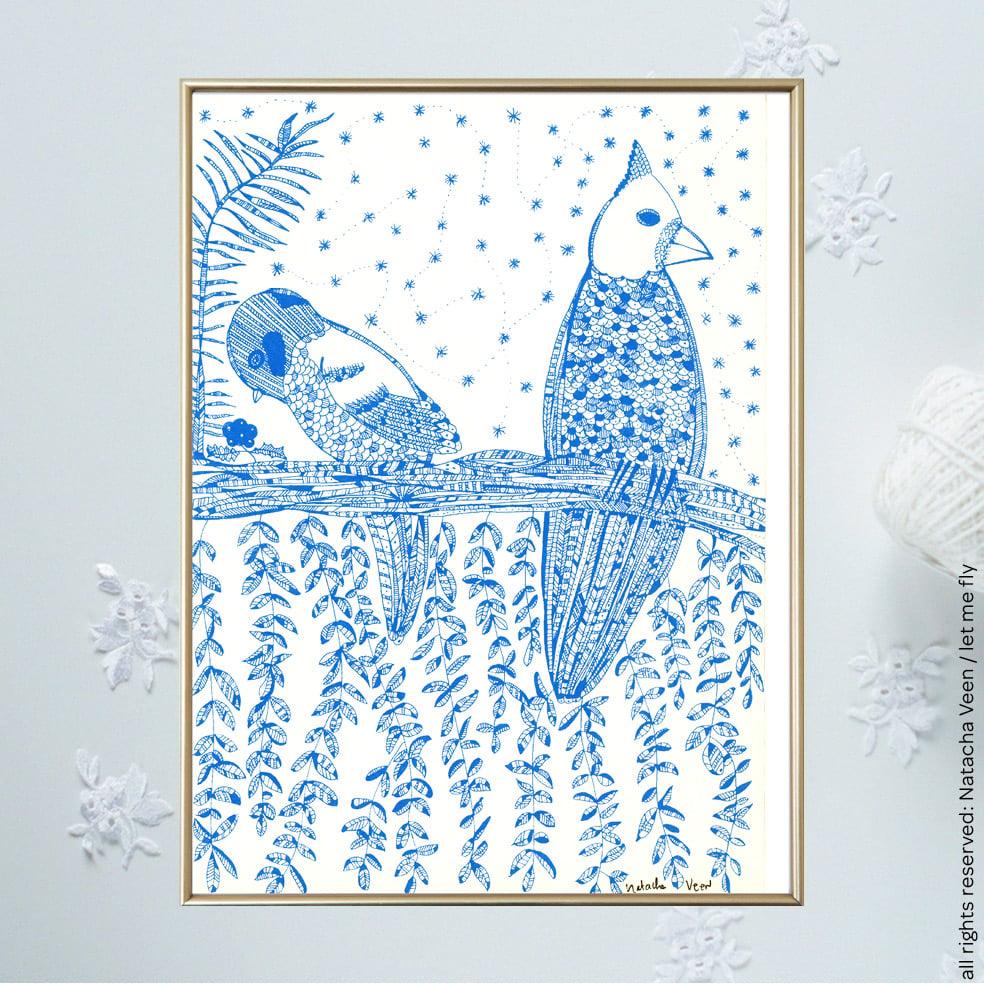 Image of Blue *Birds Thinking*_18x24 cm
