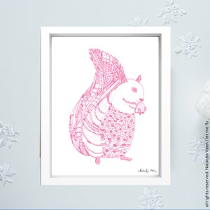 Image of Pink or Gold *Squirrel*_18x24cm