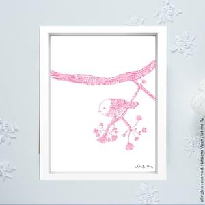 Image of Pink *Shy Bird*_18x24cm