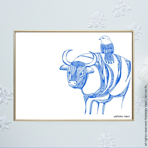 Image of Blue*Taurus*_18x24 cm
