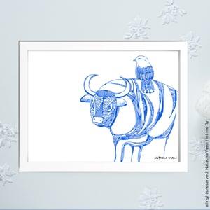 Image of Blue*Taurus*_18x24 cm