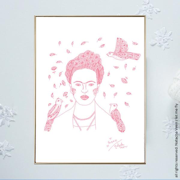 Image of Pink *Frida*_18x24 cm