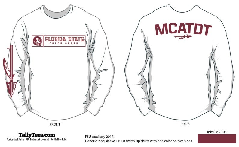 Image of FSU Color Guard 2018 White Long Sleeve Tee