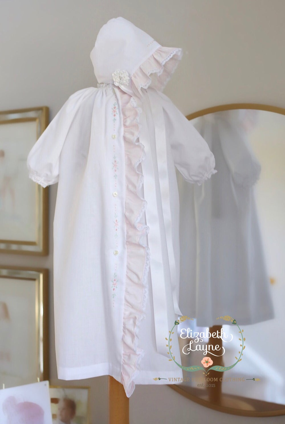 Image of Pink Ruffle Daygown and Bonnet Set