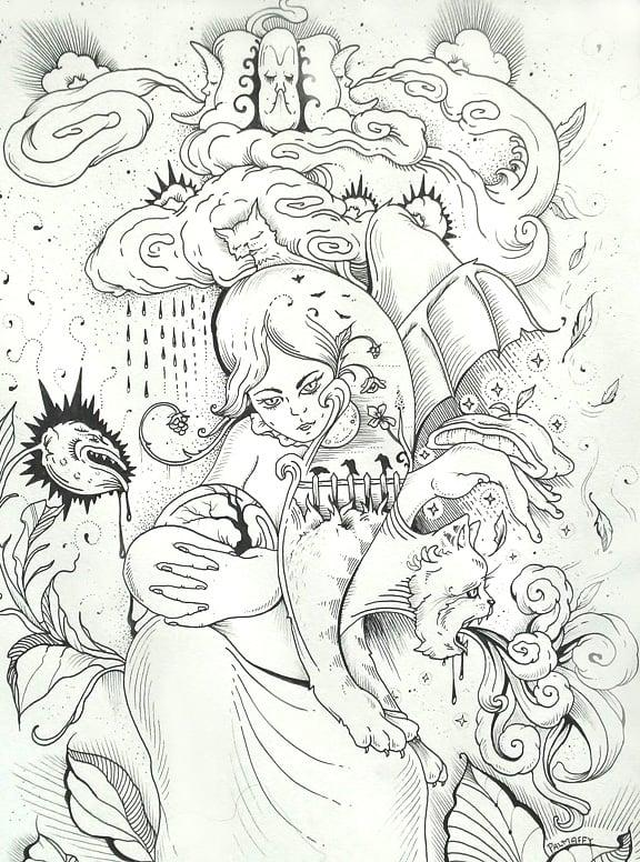 "Image of ""Sorceress"" Original Drawing"