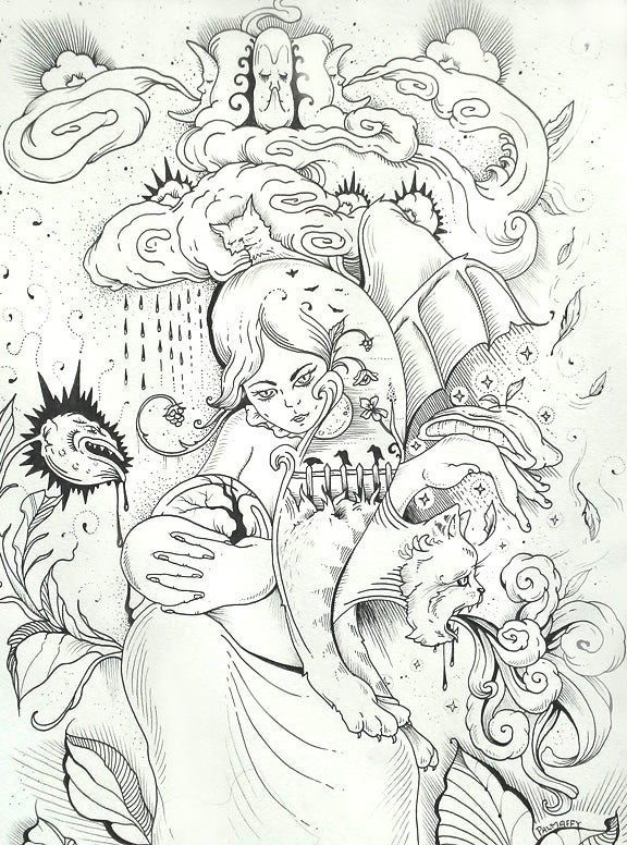 "Image of ""Sorceress"" Original Drawing"
