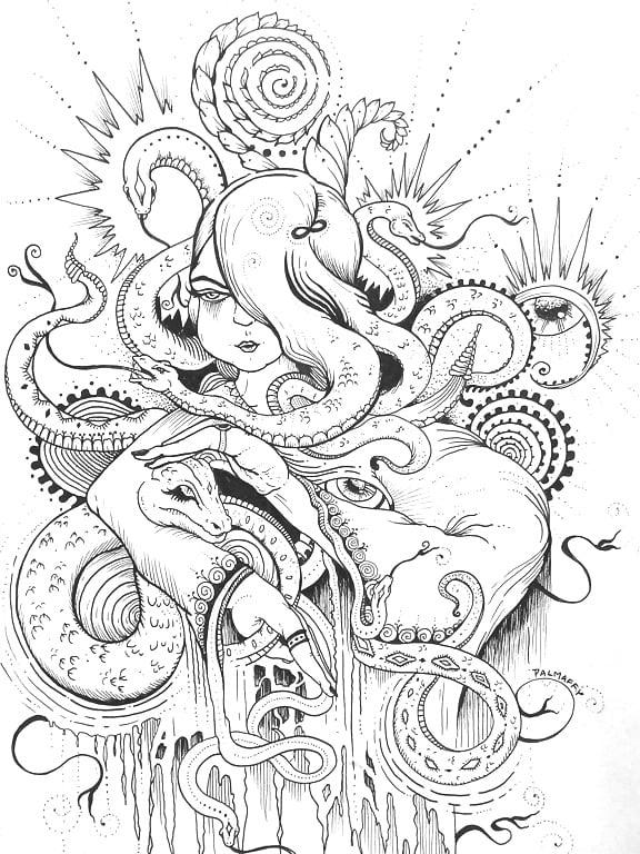 "Image of ""Young Medusa"" Original Drawing"