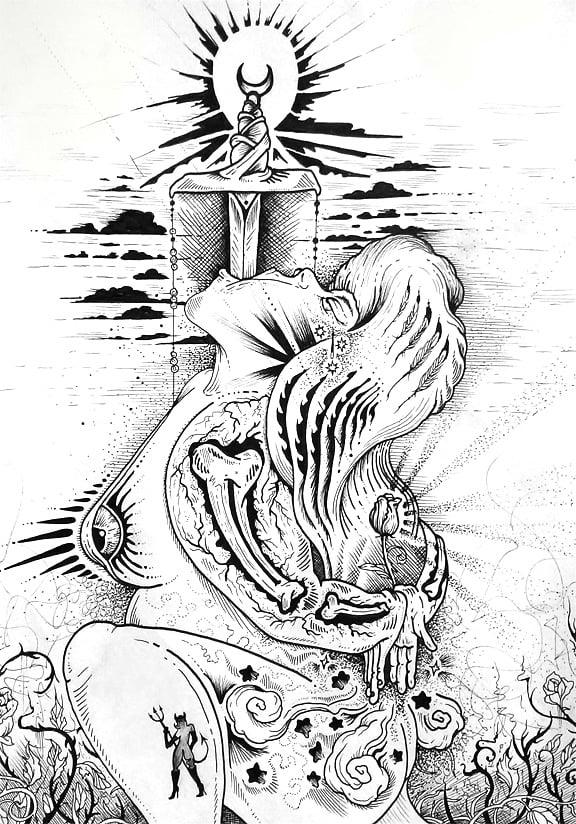 "Image of ""Sacrifice"" Original Drawing"