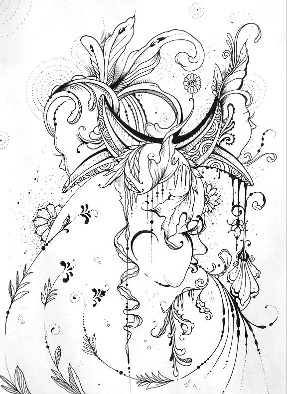 "Image of ""Wives of Dionysus"" Original Drawing"