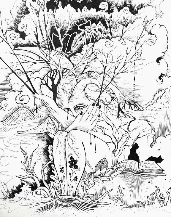 """Image of """"Cat Book"""" Original Drawing"""